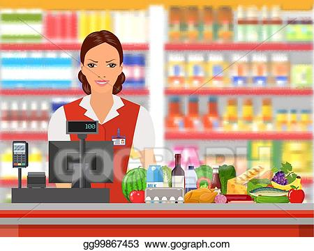 clip Vector illustration groceries cashier. Supermarket clipart shop keeper