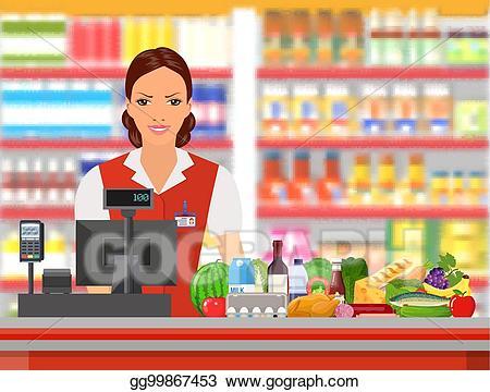 clip Vector illustration groceries cashier. Supermarket clipart shop keeper.