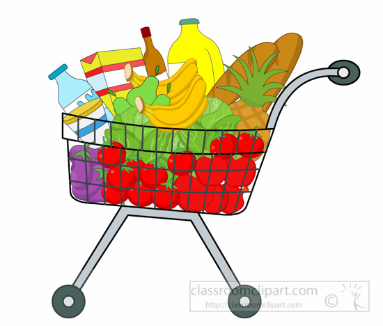 clipart free Shopping cart full of. Supermarket clipart transparent
