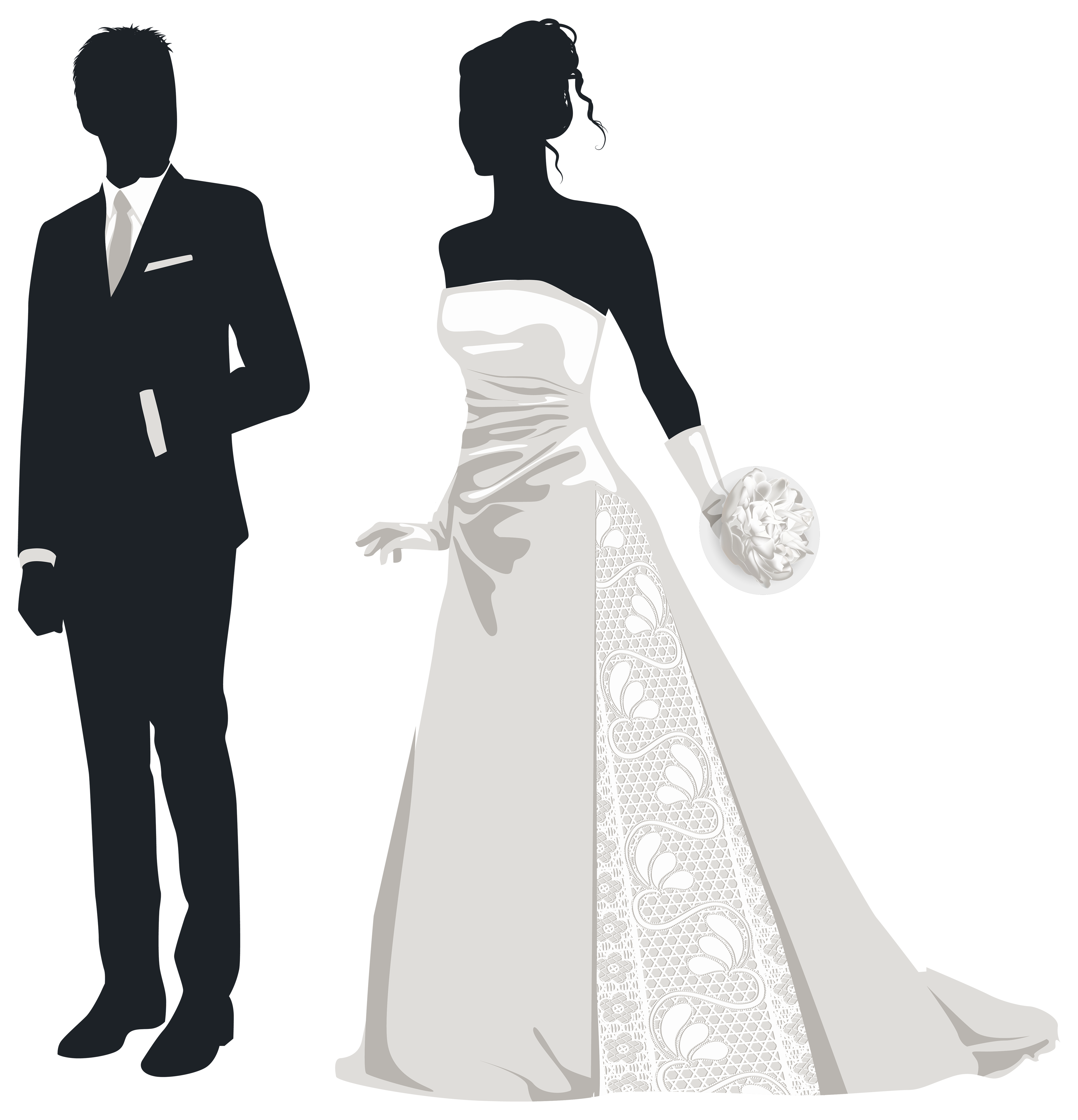 png free download Bride and silhouettes png. Groom clipart.