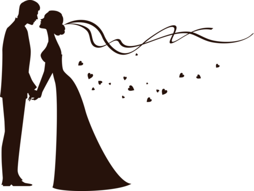 clip art freeuse library Bride and silhouette another. Groom clipart colored