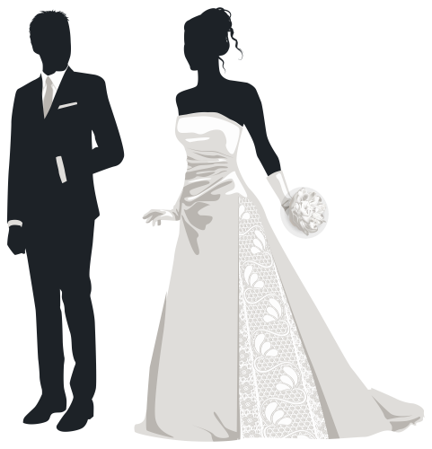 clip royalty free Bride and silhouettes png. Groom clipart cute