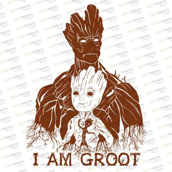 jpg black and white Groot vector. Original design eps svg