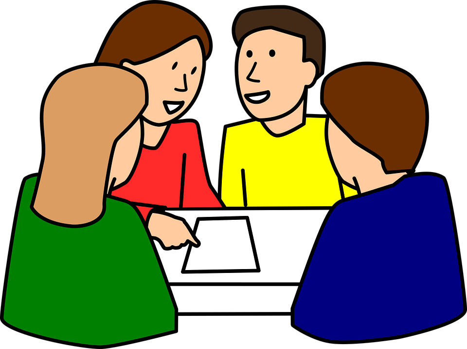 graphic freeuse stock Flipped learning meets cooperative. Students working in groups clipart