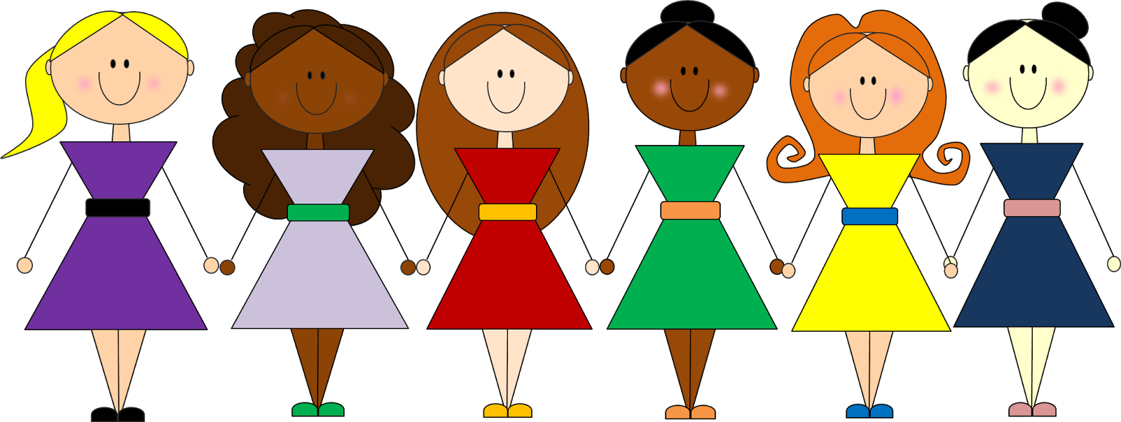 image freeuse  collection of girls. Group clipart friendship