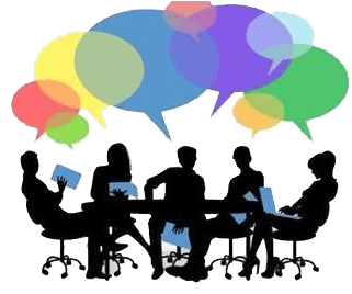 banner freeuse Focus portal . Group discussion clipart.