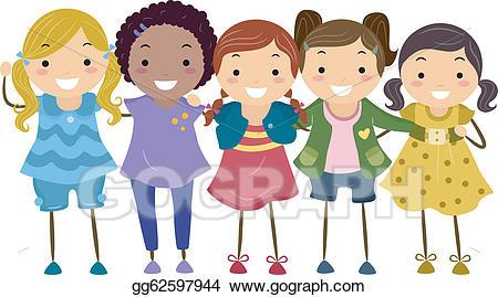 banner Vector stock girl illustration. Group of girls clipart.