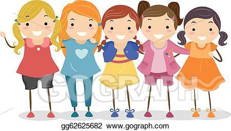 freeuse Group of girls clipart. Vector stock girl illustration.