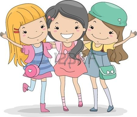 clip free stock Illustration a huddled together. Group of girls clipart.
