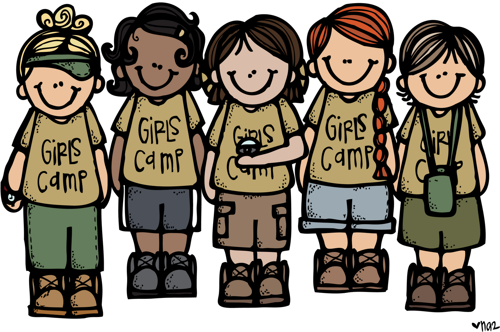 clipart free Group of girls clipart. Melonheadz lds illustrating camp.