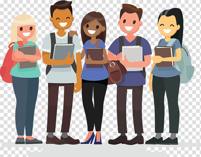 download Group of students clipart. Illustration people holding books