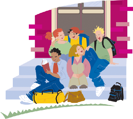 clip library library Group of students clipart. Sitting on school entrance