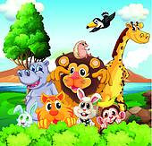 image free stock Station . Group of zoo animals clipart.