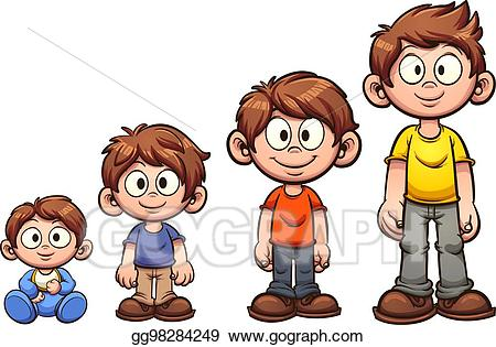 jpg black and white download Growing up clipart. Vector illustration boy eps