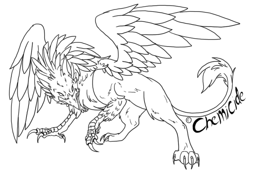 svg royalty free download Line art by nightmareadoptables. Gryphon drawing