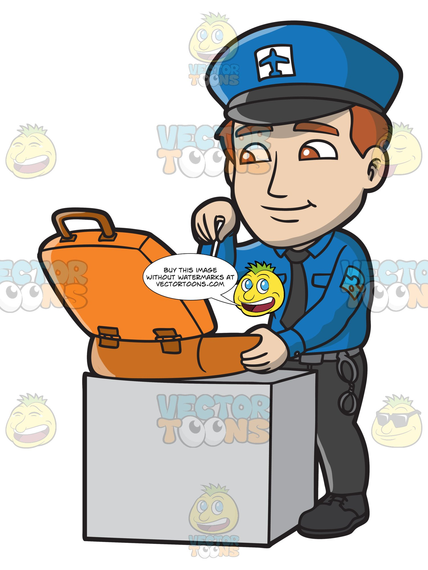 clipart library library Guard clipart airport. A male security inspecting