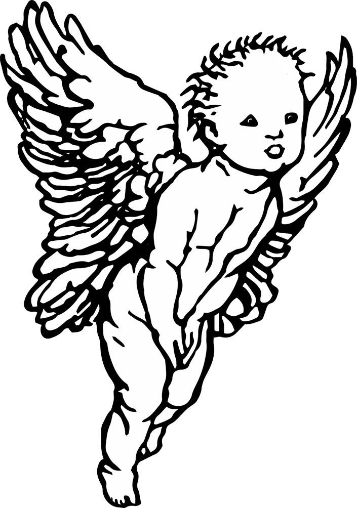 clipart royalty free stock Black And White Angel Drawing at GetDrawings
