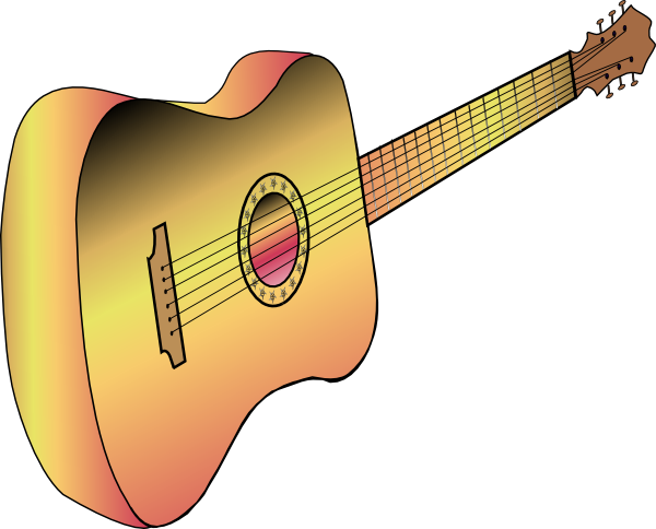 black and white stock Guitar clipart public domain. Acoustic free on