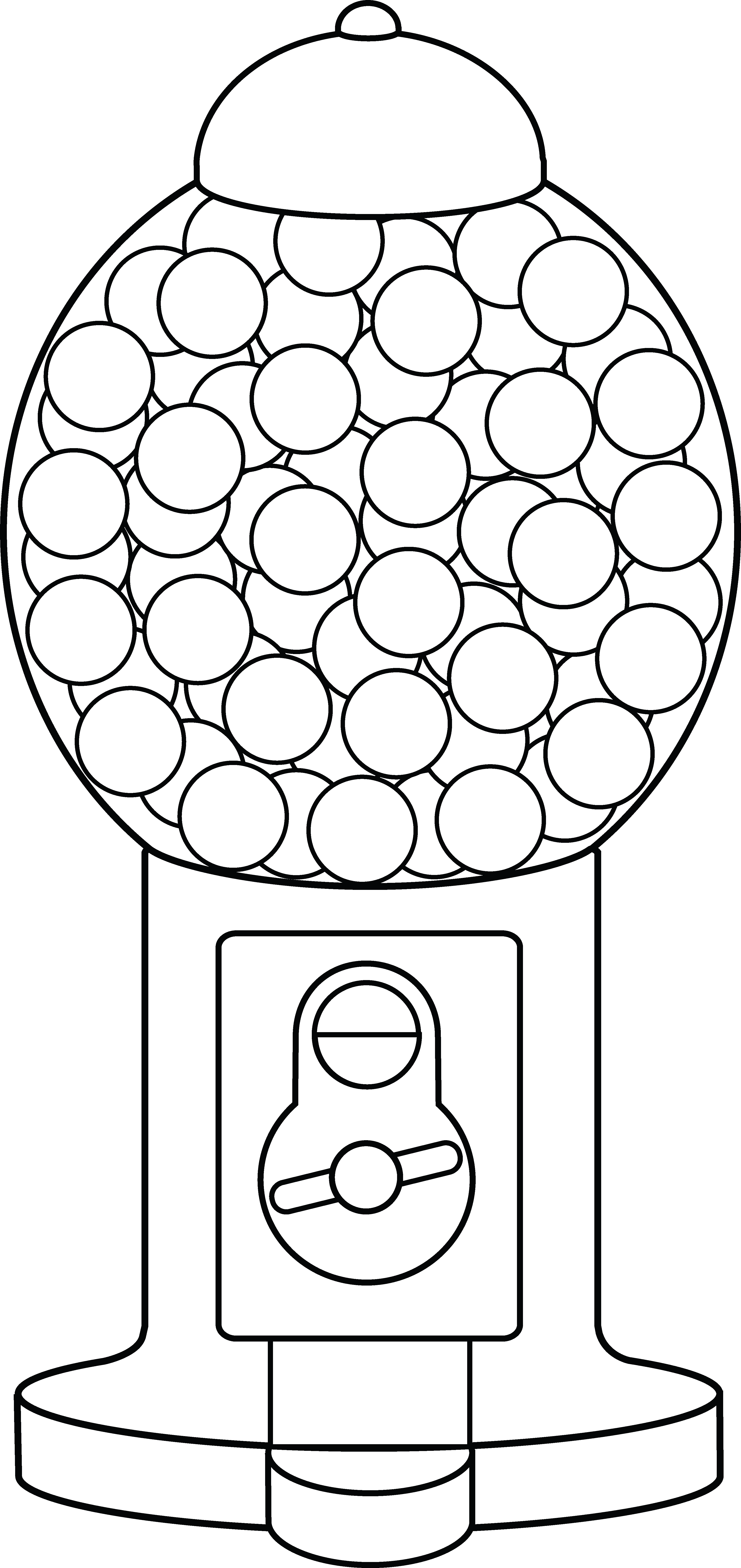 graphic black and white download Coloring page free clip. Gumball machine clipart sweet