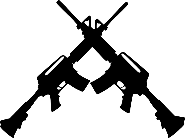 graphic black and white Army rifle clipart. Crossed ar clip art.