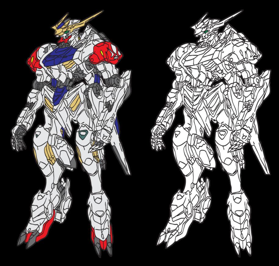 clip art black and white stock Gundam Barbatos Lupus Line Art by stacalkas on DeviantArt