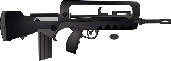 clip royalty free Guns clipart black and white. Rifle silhouette clipground famas
