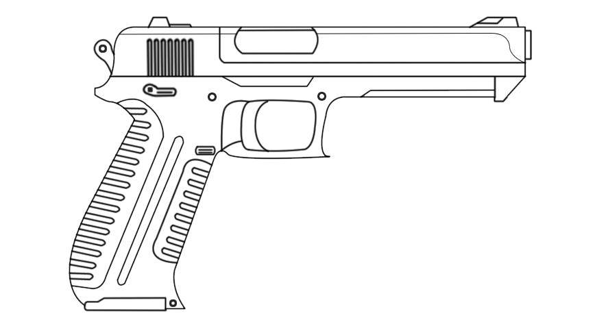 clip free stock Gun drawing by Red