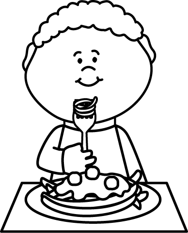 library Boy eating spaghetti coloring. Guy clipart black and white