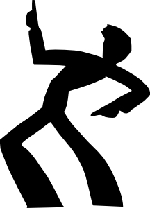 banner black and white Dancing man silhouette clip. Guy clipart dancer