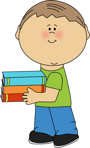image library Little boy carrying books. School kid clipart