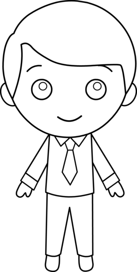 clipart royalty free download In suit line art. Guy clipart little boy