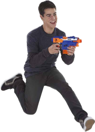 clipart free Guy running with a nerf gun
