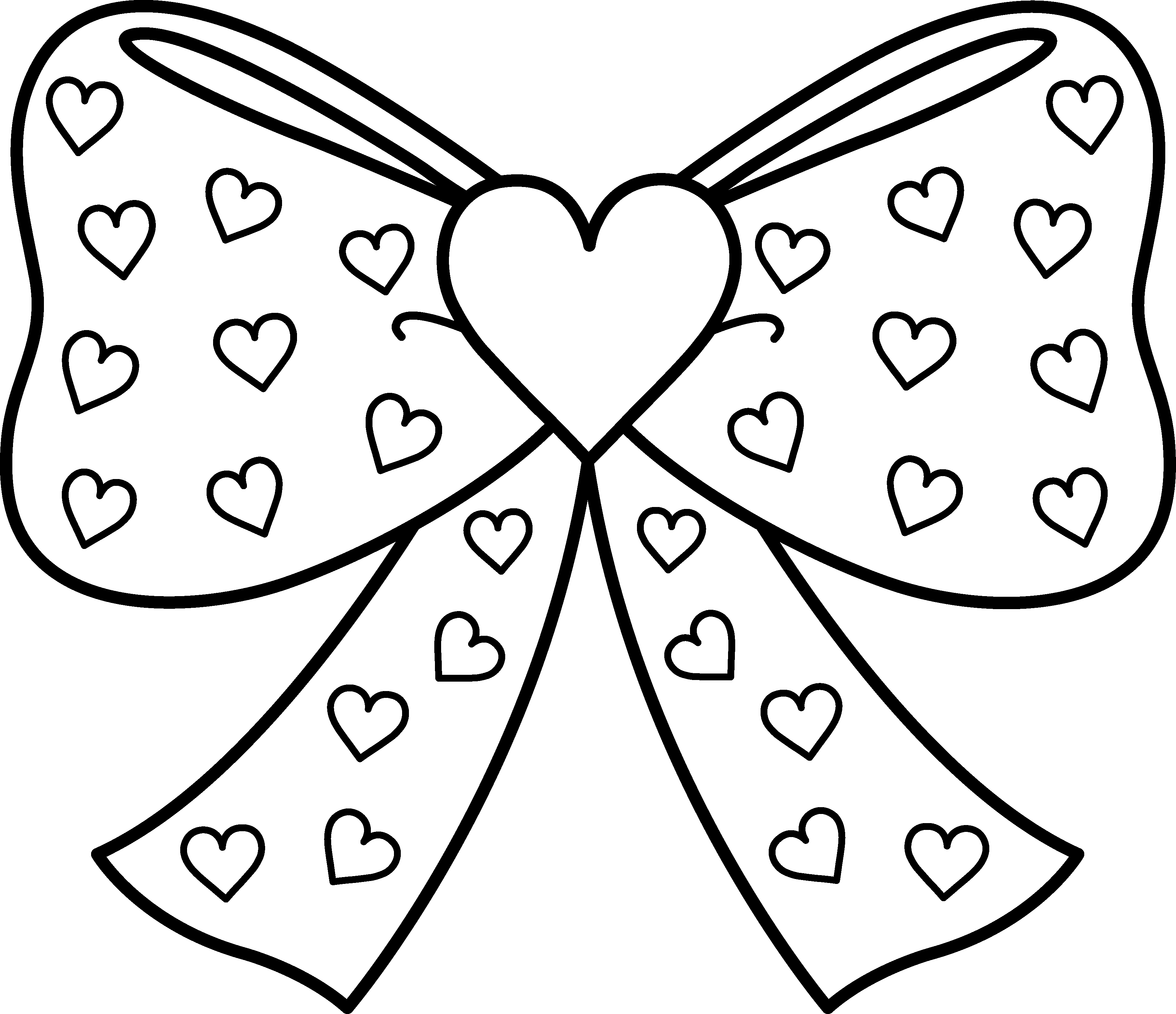 banner transparent Hair bow clipart black and white. With hearts coloring page