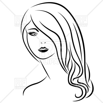 jpg library download Hair clipart black and white. Long station .