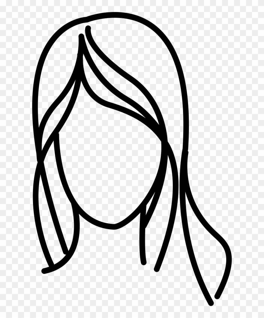 svg library Outline png . Hair clipart black and white.