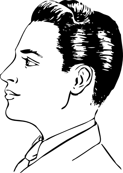 jpg black and white stock Haircut clipart. Cartoon profile men side