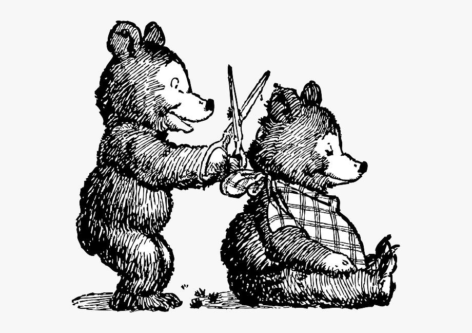clipart transparent download Haircut clipart animated. Animals scissors cartoon bear