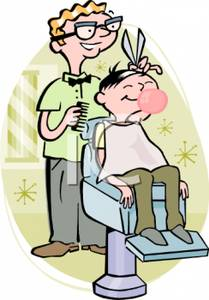 black and white download Haircut clipart cartoon. Of a barber giving