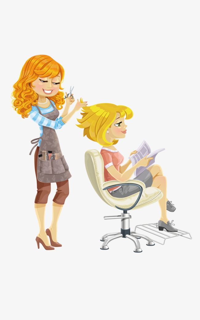 png royalty free library Hairdresser clipart animated. Haircut girl cartoon characters