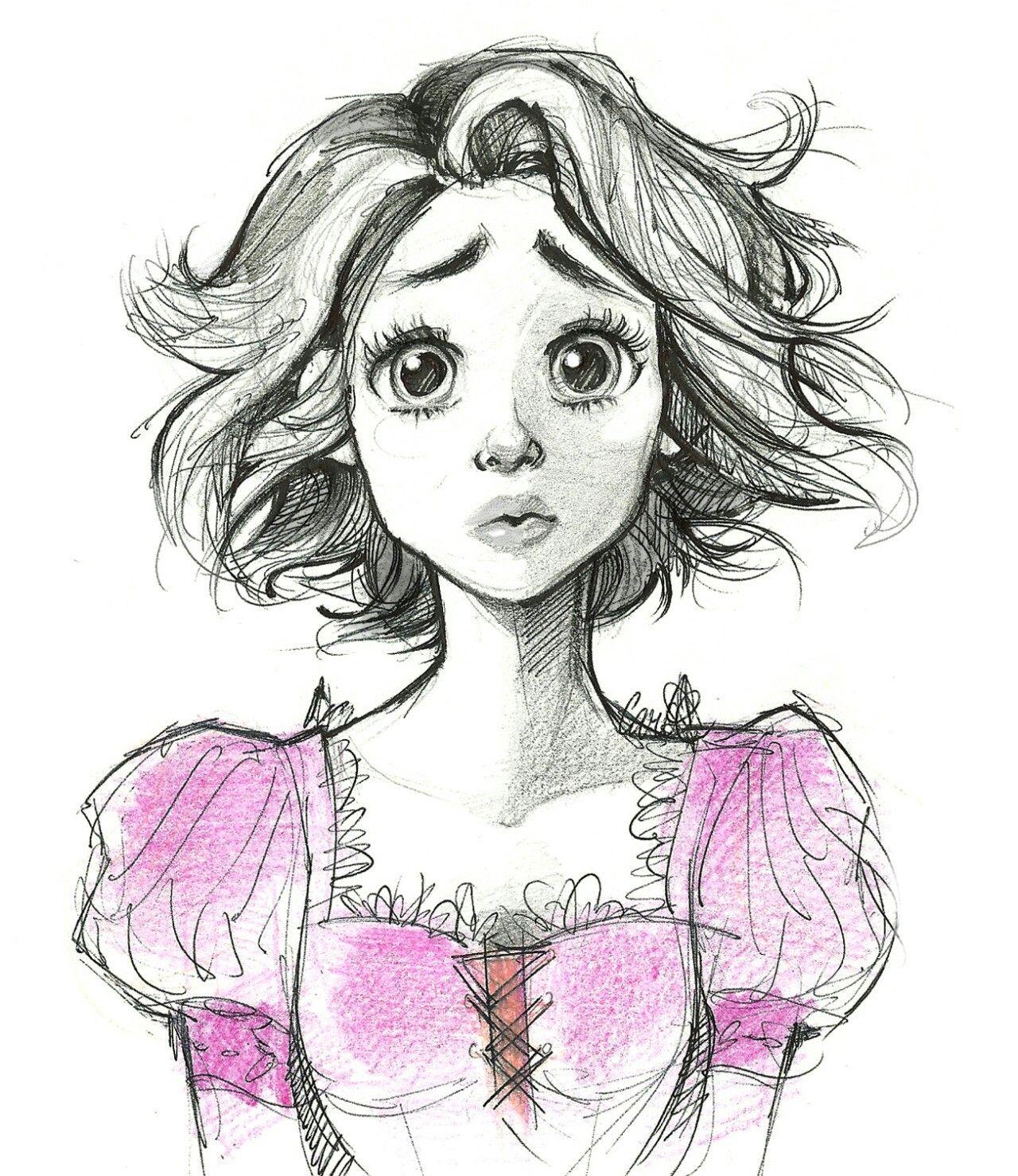 jpg library download Drawing princess long hair. Pin on disney