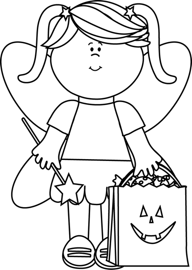 royalty free stock Black and white trick. Halloween clipart fairy