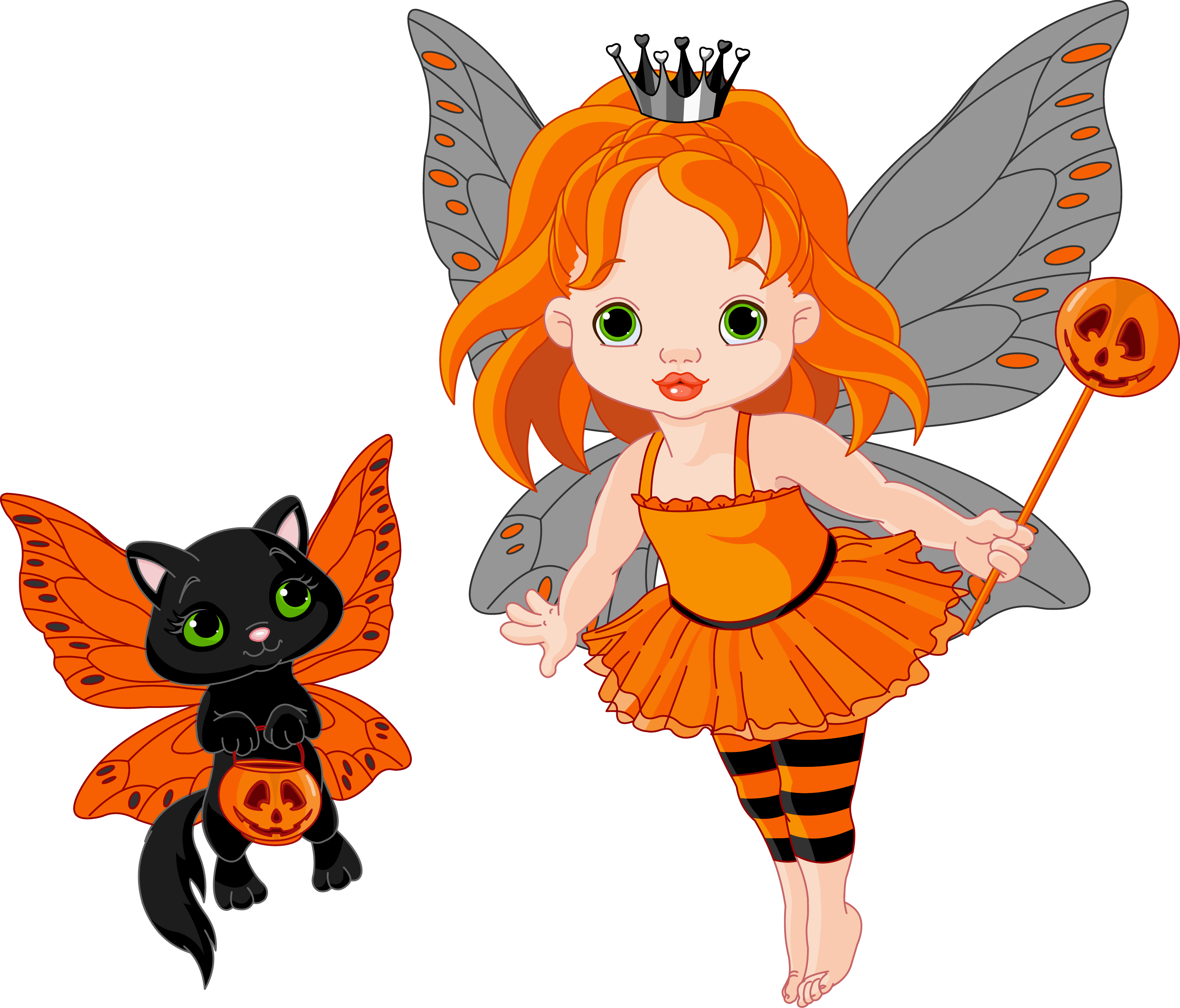 graphic freeuse library Halloween clipart fairy. Transparent and cat gallery