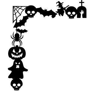 clip download Cricut stencils . Halloween corner border clipart