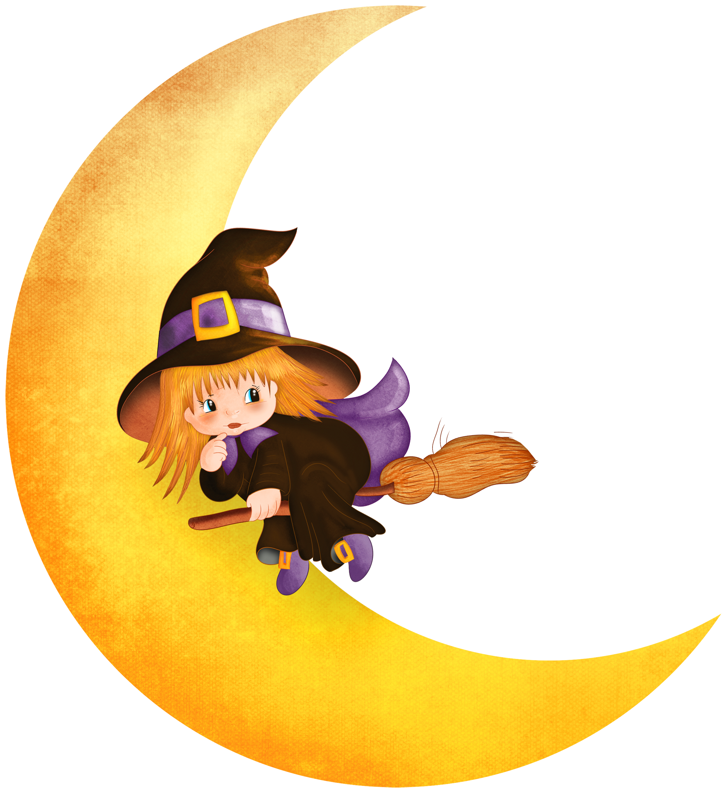free Halloween witch on the. Black and white moon clipart