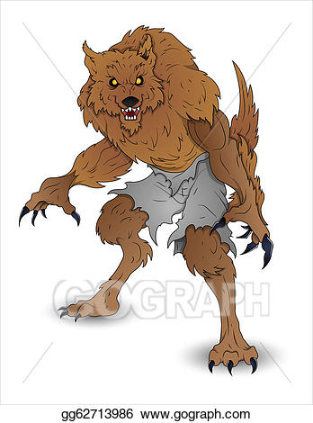 banner freeuse library Vector art illustration . Halloween werewolf clipart