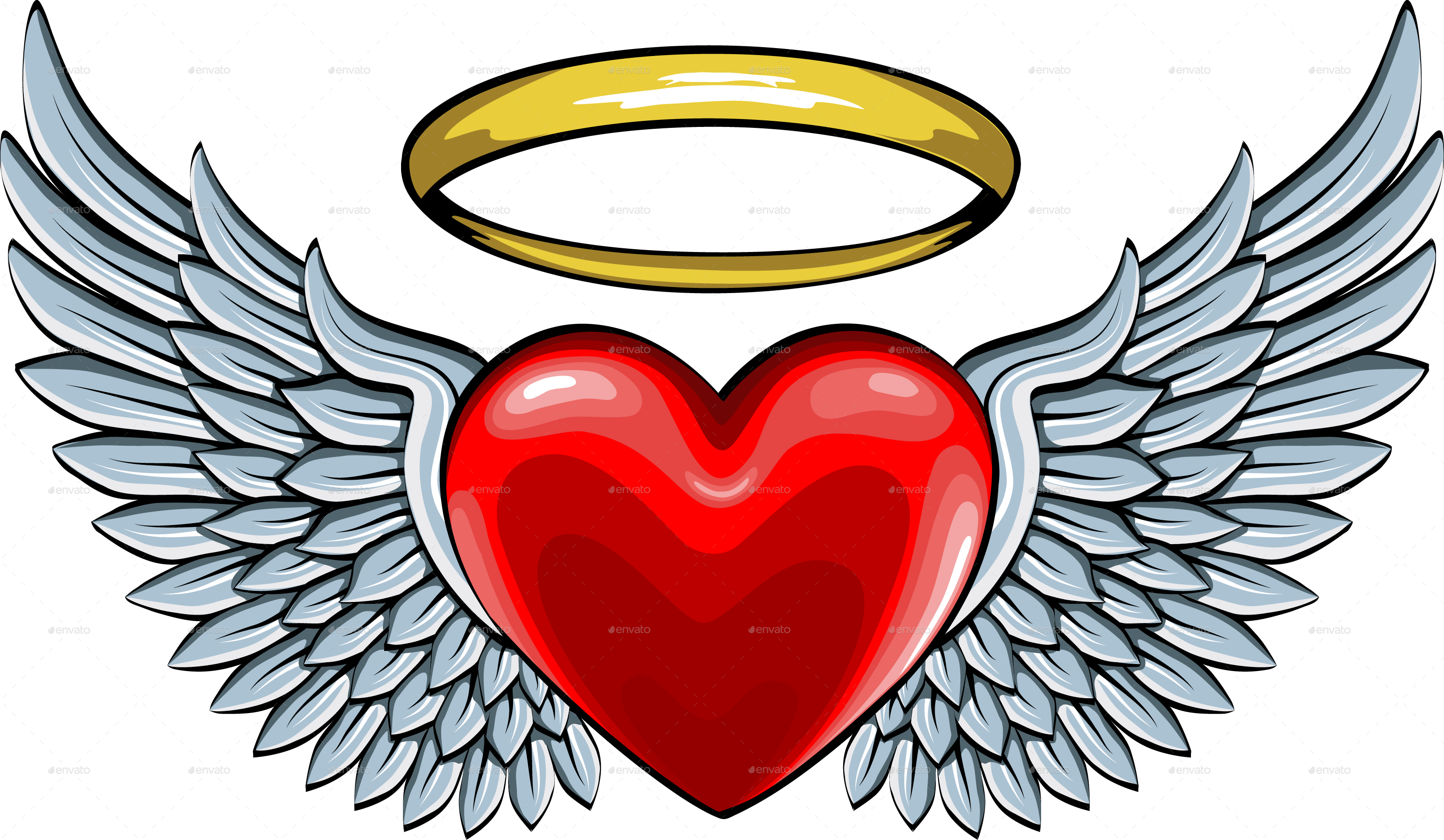 vector freeuse library Halo clipart angel wings heart. V sledok vyh ad
