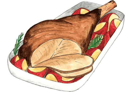 picture black and white library Ham clipart barbecue meat. Fresh cut beef chicken