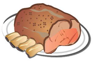 svg black and white library Roast transparent free on. Ham clipart entree