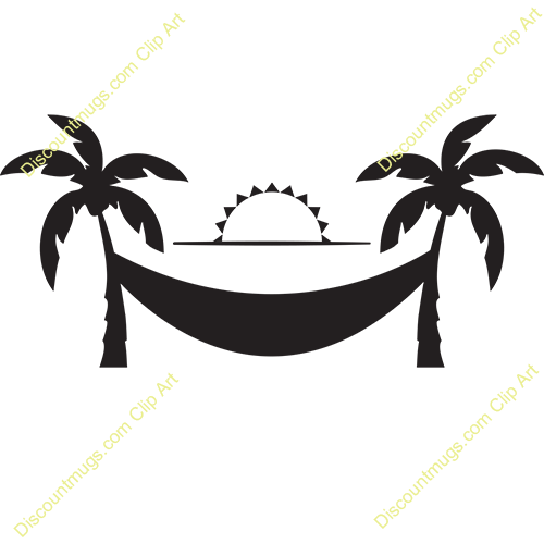 vector freeuse Hammock clipart. Palm tree