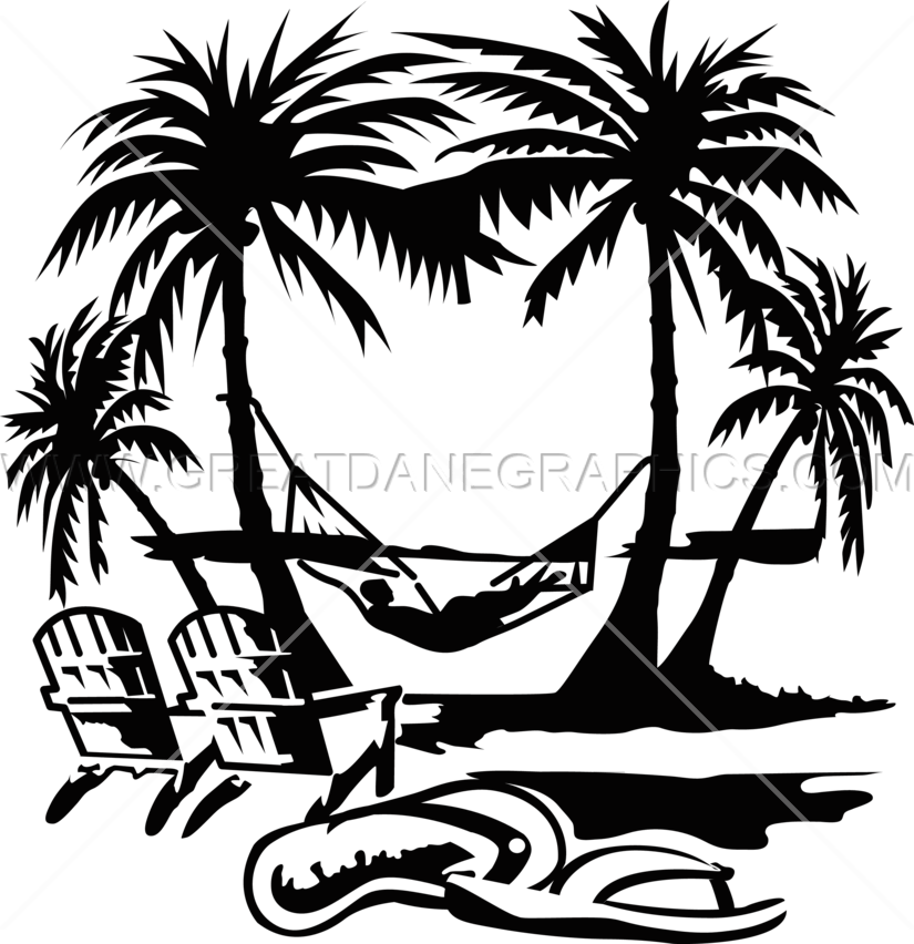 jpg Hammock clipart outline. Beach drawing black and